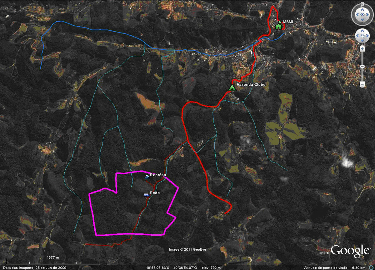 Localização do terreno da Prefeitura sobre uma imagem de satélite